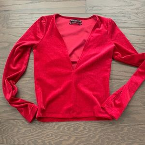 Urban outfitters red velour cropped v neck top XS